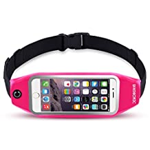 uFashion3C Universal Running Belt Pouch Case/ Waist Fanny Pack for iPhone 6, 6S, 6 Plus, 6S Plus, Galaxy S5, S6, S7, Edge, Note 3, 4, 5, LG G3, G4 G5 with OtterBox/ LifeProof Waterproof Case (Pink)