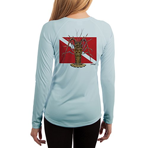 Kevin BRANT Lobster Dive Flag Women's UPF 50+ Long Sleeve T-Shirt X-Small Arctic Blue