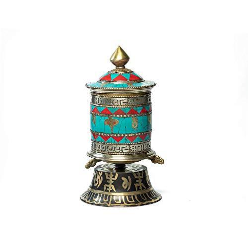 Ojas Yatra Tibetan Handmade Table Top Prayer Wheel (Turquoise) - Premium Spiritual/Relaxation/Meditation/Yoga Accessories Gift Set - Home & Zen Decor - Om Mani Padme Hum Mantra