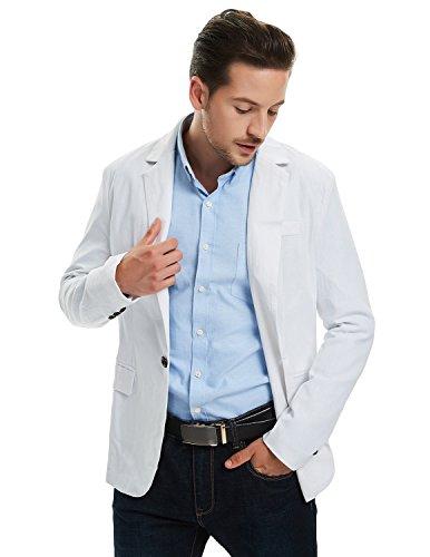 Pishon Men's Linen Blazer Lightweight Casual Solid One Button Slim Fit Sport Coat, White, Tag Size XXXL=US Size L by Pishon (Image #5)