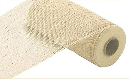 10 inch x 30 feet Deco Poly Mesh Ribbon - Value Mesh (Cream, Gold Foil)