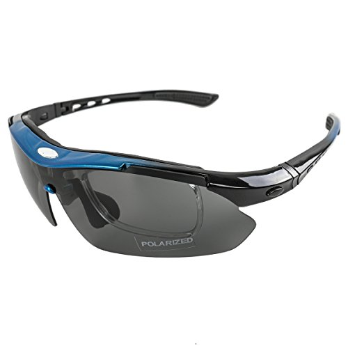 Brand New Polarized Outdoor Sport Cycling Sunglasses Eyewear Bicycle Bike Goggles Sport Glasses Uv400 Lens Protective Goggles Riding Sun Glasses Eyewear With 5 Changeable Lenses Blue