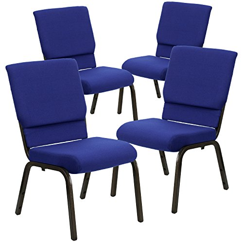(Flash Furniture 4 Pk. HERCULES Series 18.5''W Stacking Church Chair in Navy Blue Fabric - Gold Vein)