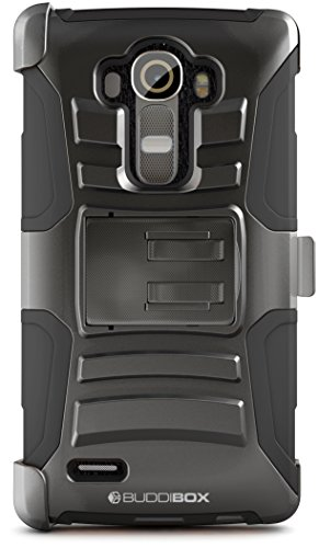 LG G4 Case, BUDDIBOX [HSeries] Heavy Duty Swivel Belt Clip Holster with Kickstand Maximal Protection Case for LG G4, (Black)