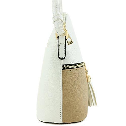 Taupe Crossbody Zipper Tassel White Bag Pocket EXFPqPwx