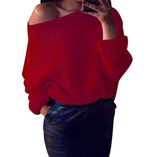 Large Sweater Pull Col Automne Chaud Femme Manches Epais Tricot Oversize Ample Pull Chandails Chandail Hiver Pull Longues Maille Rond Loose Rouge Jumper Tops YOwqn17xZ1