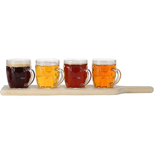 Lily's Home Beer Flight Paddle and Sample Tasting Set, Includes 4 Dimple Beer Mugs with 1 Attractive Wooden Tray, Best for Beer Lovers, Home Brewers (8 Oz. Each Glass, Set of 4)