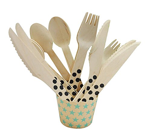 Panda Superstore Set of 12 Lovely Wooden Party Tablewares Picnic Knife&Fork&Spoon,BLACK