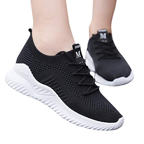 NEARTIMEWomen's Sneakers-New Wild Fashion Running Shoes Woven Breathable Outdoor Travel Casual Sports Shoes 7' Black Patent Knee Boots