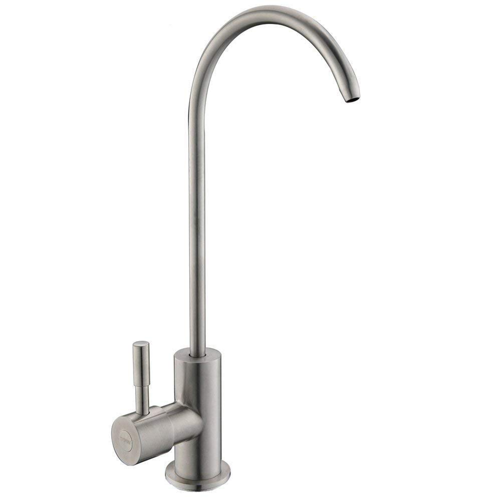 IKEBANA Modern Lead-Free Water Filtration Faucet Kitchen sink Drinking Cooking Cleaning Swivel Single Handle Kitchen Bar Sink Water Purifier Faucet, Brushed Nickel