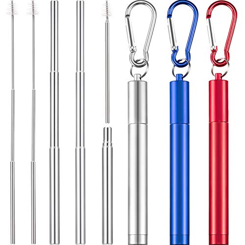 3 Pieces Portable Stainless Steel Straw Set Telescopic Reusable Drinking Straws Metal Straw with Cleaning Brush, Stainless Steel Carrying Case and Keychain (Silver)