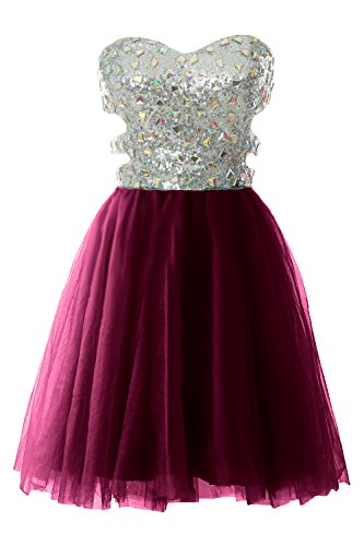 MACloth Women Strapless Cutout Sequin Short Prom Evening Dress Formal Ball Gown Wine Red