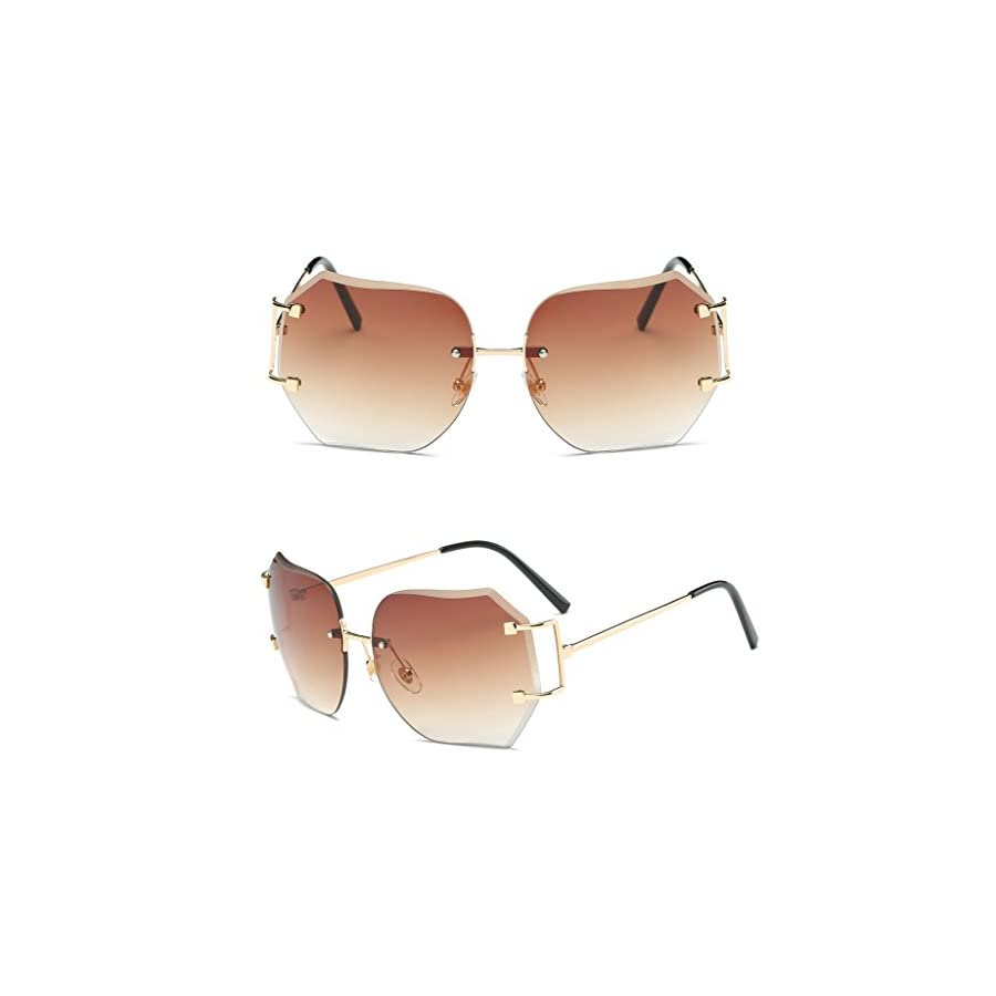SCASTOE Retro Gradient Women's Rimless Sunglasses Metal Oversized Designer Clear Lens Rimless Glasses Tea
