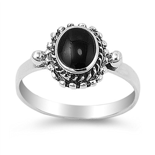 Simulated Black Onyx Oval Solitaire Polished Rope Ring 925 Sterling Silver Band Size 7 (Onyx Rope Ring)
