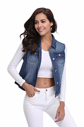 MISS MOLY Women's Buttoned Washed Denim Vest with Western Pockets Dark Blue Vest (Western Vests)