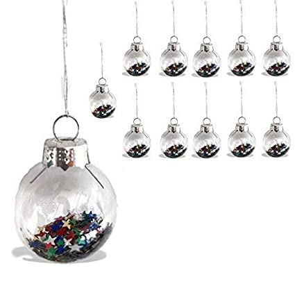 Banberry Designs Mini Glass Christmas Ornaments 1 Inch Balls Filled With Colorful Star Confetti Set Of 12 Christmas Tree Decorations