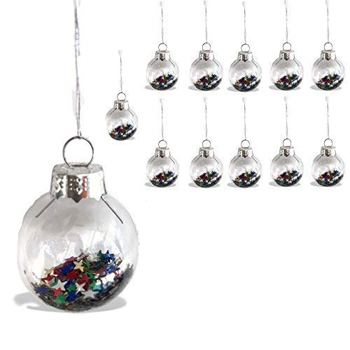BANBERRY DESIGNS Mini Glass Christmas Ornaments - 1-INCH Balls Filled with Colorful Star Confetti – Set of 12 Christmas Tree Decorations