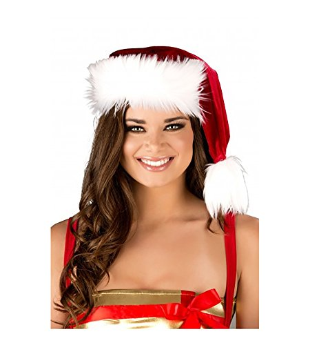 Cyberteez Sexy Women's Christmas Classic Red/White Faux Fur Trimmed Santa Hat Costume
