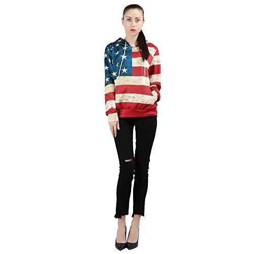 Respctful✿Casual Shirts for Women Long Sleeve American Flag Print Knotted Loose Comfy Sweatshirt Tops Blouse Shirt Red ()