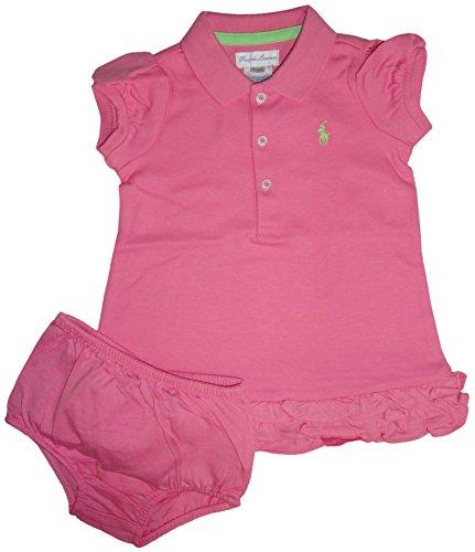 Ralph Lauren Polo Infant Girls 2 Piece Short Sleeve Dress Garden Rose, 24 Months