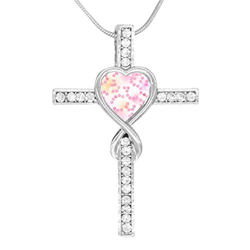Price comparison product image Beufun Cross Infinity Love Pendant Necklace Flowers 3D Printed Jewelry for Women Girls