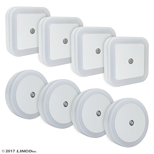 LINCO LED Plug Night Light Wall Lamp With Dusk to Smart Sensor, Pack of 8 T003 (4S4C)