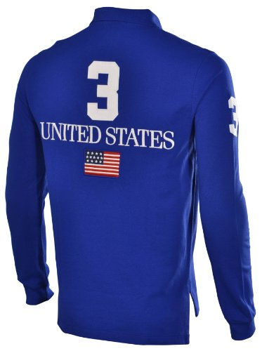 Polo Ralph Lauren Men's Big Pony USA Flag Custom Fit Mesh Shirt-Blue-Small