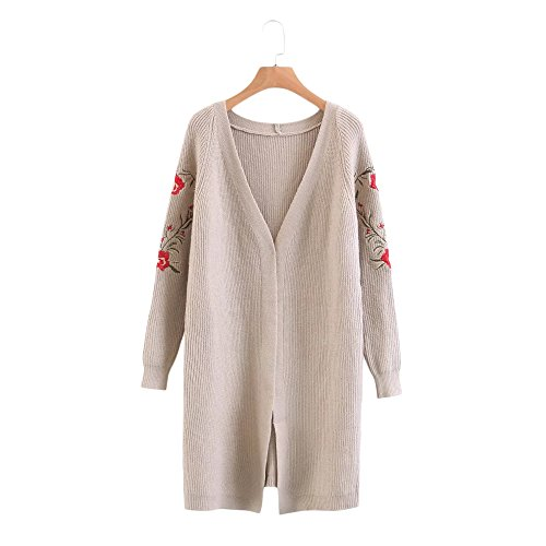Floral Long Sleeve Cardigan (DressLily Women's Open Front Long Sleeve Floral Embroidery Collarless Knit Cardigan Swearter,KHAKI,ONE SIZE)