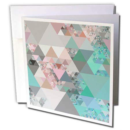 3dRose Andrea Haase Allover Pattern - Triangle Pattern of Soft Pastel Triangles - 1 Greeting Card with Envelope (gc_289399_5) (Soft 1 Pastel)