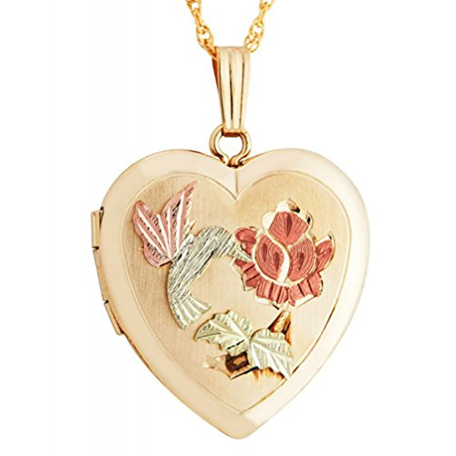 Hummingbird Heart Locket Pendant, 10k Yellow Gold, 12k Green and Rose Gold Black Hills Gold Motif, 18