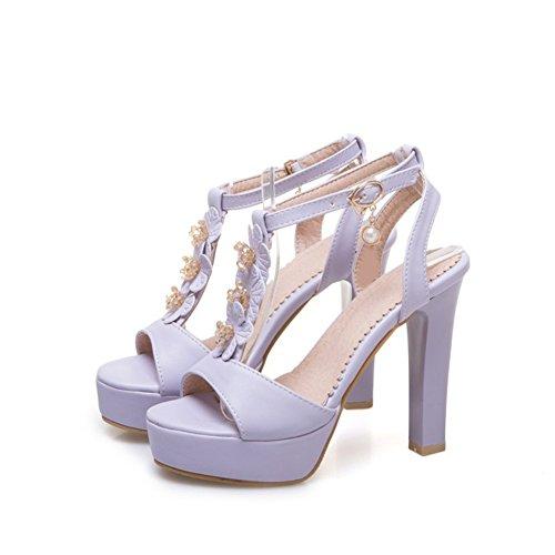 Libre Las Mujer señoras Primavera Zapatos de Verano tacón de Aire el Grueso al de Plataforma Sandalias sintético de Hebilla de Moda Cuero de para Zapatos Vestido Hebilla tacón 1zfqf5