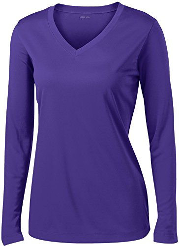 Joe's USA - Ladies Long Sleeve Moisture Wicking Athletic Shirts, Purple Small