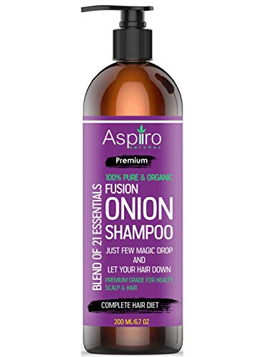 Aspiiro Natural Organic Red Onion Shampoo With Fenugreeek, Kalonji, Amla, Bhringraj, Ginger & 18 Essentials- Sulphate & Paraben Free(6.7 oz/200 ml)