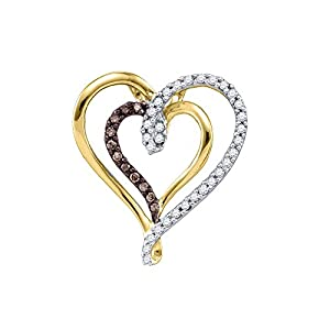 Cognac and Diamond Double Heart Pendant with Chain in 10K Yellow Gold (1/4 cttw)