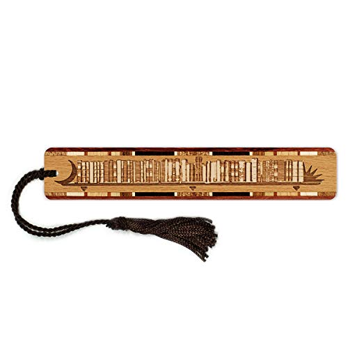 Bookshelf - Books - Read - Engraved Wooden Bookmark with Tassel - Search B071YSBW27 to See Personalized Version.