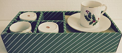 Vintage All The Trimmings Christmas Holly Demitasse/Expresso Cup & Saucer Set