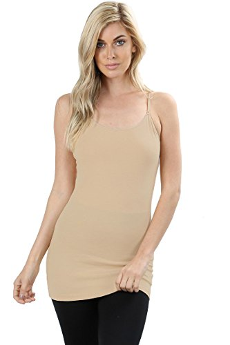 Zenana Premium Women's Long Tank Camisole Top with Adjustable Spaghetti Straps and Built-in Bra (Sand, X-Large)