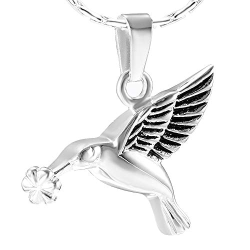 Sterling Pendant Hummingbird (constantlife Cremation Jewelry for Ashes Hummingbird Necklace 925 Sterling Silver Pendant Memory Keepsake Urn Necklace for Men Women (Hummingbirds-Silver and Black))