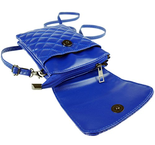 Blue Pouch Crossbody for Use Small Leather Shoulder Cellphone Travel Purse YaJaMa Daily Bag qaw7fZA