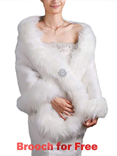 Black Faux Fur Shawl Bridal Wedding Fur Wraps and Shawls Faux Mink Shawl for Bridesmaids (White) ()