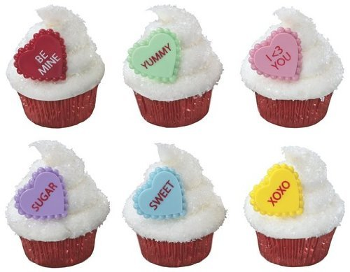 12 Plastic Conversation Heart Valentines Day Cupcake Rings Cake Toppers -