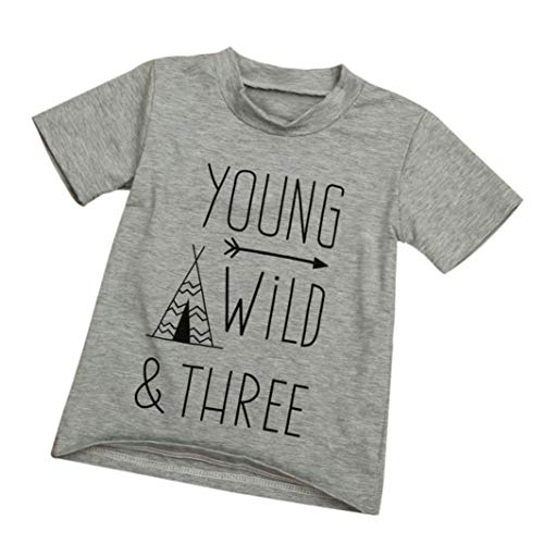 - Younger star 1PC Children Baby Boy Gray Letter Print Short Sleeve T-Shirt Clothes Outfit (Gray, 4 T)