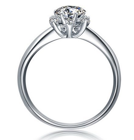 Gowe 100% pur Style Fleur 18K Or Blanc solide Charles Cluster de fiançailles Anneaux pour femme 0,5ct Certifié Vvs/H