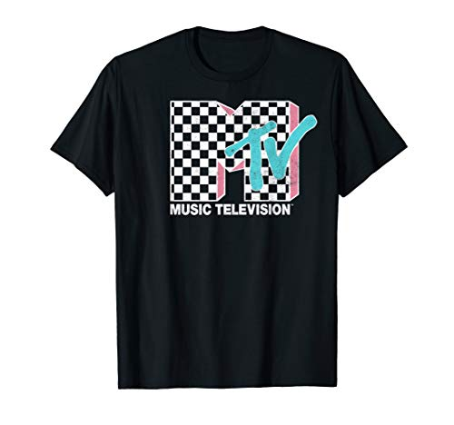 MTV Neon Distressed Checkered Logo Graphic T-Shirt, S to 3XL