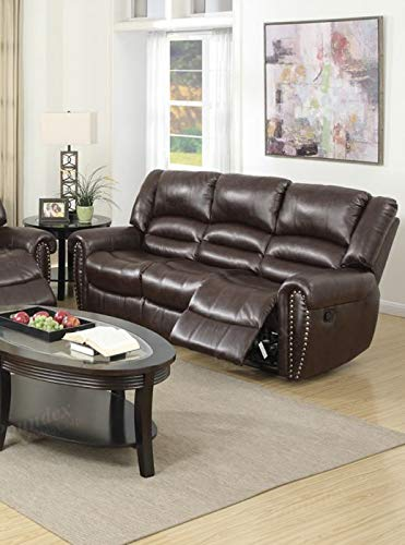 Amazon.com: Modern Brown Bonded Leather Motion Sofa with ...