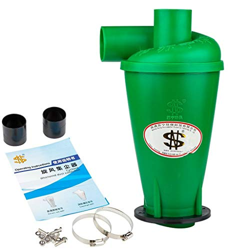High Efficiency Dust Deputy Cyclone Separator Powder Dust Catcher Turbo Dust Collector Filter Vacuums Cleaner for Household Industrial (Green)