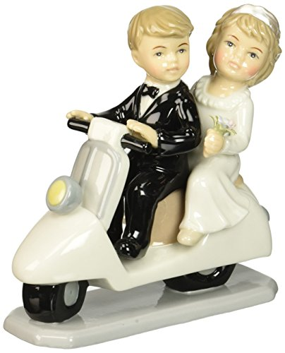 Cosmos 96640 Fine Porcelain Just Married Couple on Scooter Figurine, 5-Inch