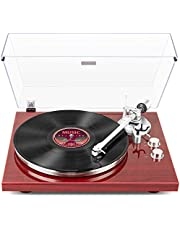 1 BY ONE Belt-Drive Wireless Record Player with Audio-Technica MM Phono Cartridge, Built-in Preamp, Adjustable Counterweight, USB Digital Output (Red)