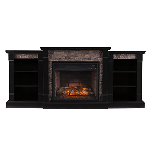 (Southern Enterprises Ganyan Infrared Electric Fireplace with Bookcase, Black Finish with Faux Stone)