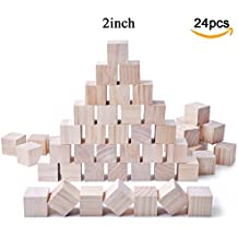 Glitz Star 24pcs Solid Wood Craft Blocks DIY Crafts Carving Painting Art Supplies for Children Shower Game Puzzle Making,2inch